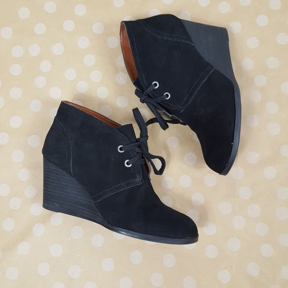 cbbf7feed7f Lucky Brand Shoes - LUCKY BRAND Black Lace Up Wedge Suede Booties